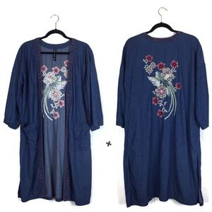 Ban. Jara Long Denim Floral Embroidered Kimono